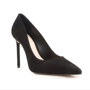 SCHUTZ Lou Black Suede Leather Pointed Toe Pumps